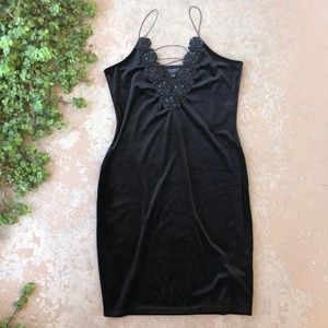 Topshop Black Velvet 90s Style Mini Dress
